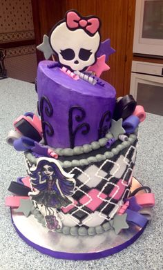 My first ever topsy turvy cake for a customer. Monster High theme and I now know how to make it better next time around. Made by Pashia's Sweet Treats.