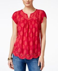 Keep it easy-breezy in this sweet top from Lucky Brand. | Rayon; embroidery: polyester; trim: cotton | Machine washable | Imported | Split neckline | Pullover style | Short sleeves  | Cinched elastic