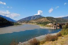 """""""Confluence of the Thompson and Fraser Rivers in Lytton, BC, Canada. The Thompson River ends here in Lytton, British Columbia, Canada where it meets the Fraser River. The contrast is striking as the clear Thompson River water joins with the muddy Fraser."""" [See also http://pinterest.com/pin/175218241724713369/]"""