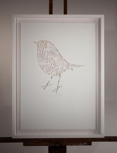 ROBIN IN THE CUT | Handcut Stencil: Small 350mm x 500mm $250,  Large 500mm x 700mm $350 (Framing additional) | Flox.co.nz