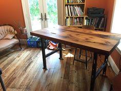 Industrial desk with reclaimed wood joist desktop and steel legs. #diy