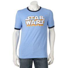 Men's Star Wars Logo Ringer Tee, Med Blue
