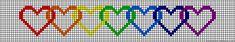 Rainbow hearts chain perler bead pattern