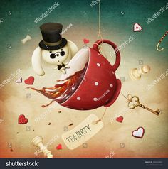 Illustration of fantasy with red cup of tea and  rabbit