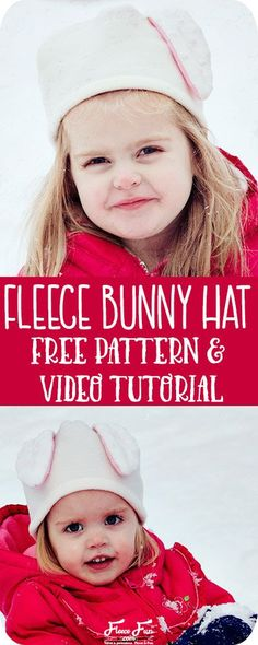 stunning Free Pattern Fleece Bunny Hat with Video Tutorial Easy Fleece Hat Pattern Sewing Projects For Beginners, Knitting Projects, Sewing Tutorials, Simple Projects, Fleece Hat Pattern, Bunny Hat, Sewing Patterns For Kids, Hat Patterns, Sewing Ideas
