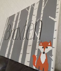 Woodland fox nursery name sign. Hand drawn hand painted hand