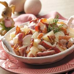 Creamy German Potato Salad Recipe -Have you ever bought marvelous-looking German potato salad, only to discover that it tastes like yesterday's rain? This is my mom's recipe, and it's been a staple in our family for years. The whipping cream makes it taste like no other. —Tracy Zettelmeier, Mukwonago, Wisconsin