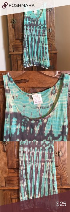 Ella Moss Turqoise/Gray tie dye Cami Size M Green/gray tie dyed micro modal knit scoop neck tank top, super soft and comfortable, loose fit, message me please for any measurement!! Ella Moss Tops Tank Tops