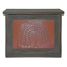 Country Rustic Primitive Bread Box Rusty Willow Tree Tin Wood $99.99