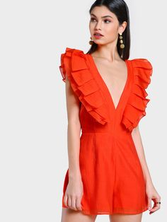 Shop Deep V Ruffle Cross Strap Romper CORAL online. SheIn offers Deep V Ruffle Cross Strap Romper CORAL & more to fit your fashionable needs. Red Playsuit, Stylish Outfits, Fashion Outfits, Women's Fashion, Coral Fashion, Gossip Girl Fashion, Western Outfits, Dress To Impress, Nice Dresses