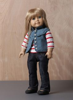 The Little Patriot OOAK BT Maria Vest with Stripe Tee and Jeans for The 18 Doll | eBay
