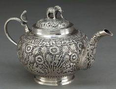INDIAN SILVER TEA POT, India, circa 1890