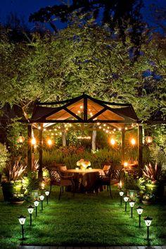 Elegant Well-Lit Backyard Dinner Party Pergola