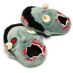"""""""These zombie slippers are a little confused. Where are your braaaaaainsss again? Let them gently nom on your tasty feet. Who knew being chewed on was so comfortable? Best of all, there's no right foot or left foot. Makes it easy to put 'em on in the morning when you have half a braaaaaainn."""""""