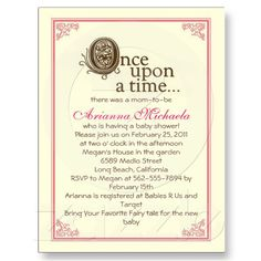 Once Upon A Time Invitation Book Themed Baby Showers Pinterest