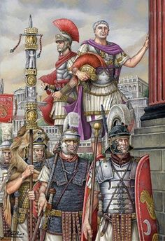 The emperor, a senior officer and Praetorian guardsmen together with their standard bearer.