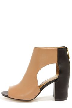 Brown Report Signature Bryanna Tan and Black Cutout Peep Toe Booties at LuLus.com! $125