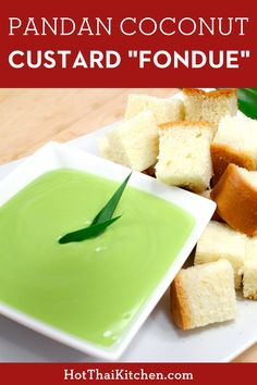 """This is one of my absolute favourite Thai """"street food"""" dessert that's perfect for a party. Creamy, silky coconut custard with natural vibrant green colour from pandan leaves which also give it a wonderful fragrance. Serve with warm fluffy bread and it'll be hard to stop! #thaidessert #thaistreetfood #nobakedessert Asian Desserts, Healthy Desserts, Easy Asian Recipes, Thai Recipes, No Bake Desserts, Dessert Recipes, Thai Street Food, Coconut Custard, Easy Family Meals"""