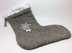 POLAR Bear Linen Christmas Stocking with Embroidery and by RBQuery