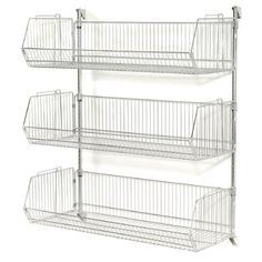 New Wall Mount Basket 3 Shelf Shelving Unit by WFX Utility Patio Garden Furniture. offers on top store Wall Mounted Wire Baskets, Wire Basket Shelves, Wire Shelving Units, Steel Shelving, Shelving Racks, Storage Rack, Wall Shelves, Van Storage, Display Shelves