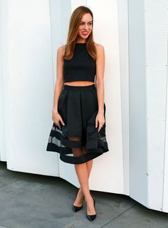 Sydne-Style-how-to-wear-a-crop-top-full-black-skirt-sheer-panels-express-black-holiday-outfit-ideas-red-lips-louboutin-pigalle-pumps