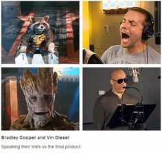 I love how Vin Diesel's smiling, and Bradley Cooper is getting super into it :) our voice actors for Guardians of the Galaxy behind the scenes