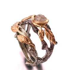 Twig and Leaf Engagement Ring - 18K Two Tone Gold and Rough Diamond ring
