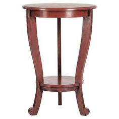 Pine wood pedestal side table in red.  Product: Side tableConstruction Material: Pine woodColor: Red Features: Bottom display shelf Dimensions: 26 H x 18.1 Diameter