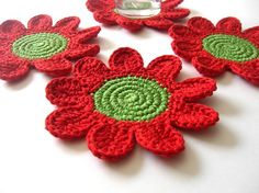 Red Green Flowers Coasters . Beverage Drink Petal Original Decor Crochet Spring Garden Collection - Set of 4