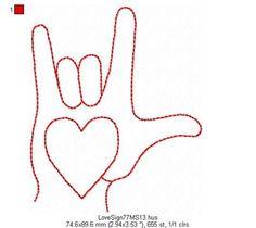 LOVE SIGN  Redwork  Machine Embroidery Design  by 77myrtlestreet