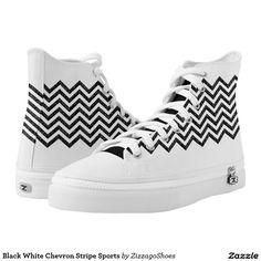 Black White Chevron Stripe Sports Printed Shoes