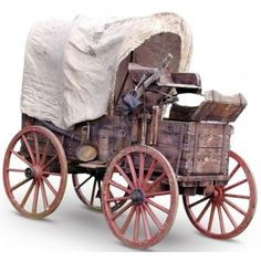 Canvas covered wagon.