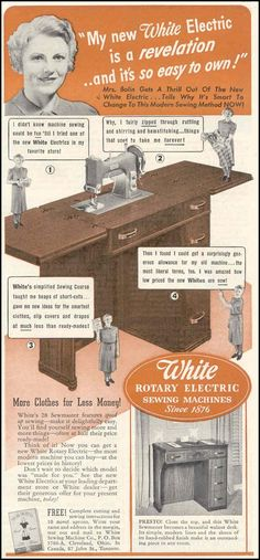 WHITE ROTARY ELECTRIC SEWING MACHINES GOOD HOUSEKEEPING 03/01/1940
