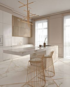 Cozinha elegante incrível com toques de ouro - KÜCHE - Kitchen Marble, Home Decor Kitchen, House Design, Interior, Dining Furniture, Elegant Kitchens, House Interior, Home Interior Design, Kitchen Design