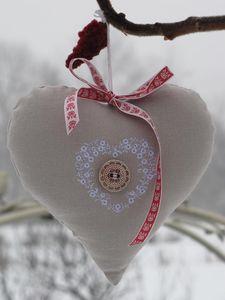 Kreuzstich Herz Blume Winter Weihnachten / Cross Stitching Heart Flower Christmas