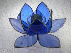Stained Glass Lotus Flower Candle Holder  Blue on by KeiberGlass, $45.00 #Anthropologie #PinToWin