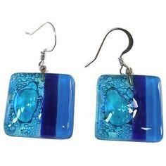 Square Fused Glass Earrings - Blue Bubbles Design - Tili Glass