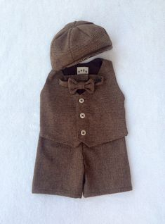 Tweed Shorts Suit, Ring bearer outfit, baby suit, tweed, baby ring bearer, brown ring bearer, baby boy photo prop, baby ring bearer outfit