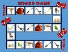 Board Game School Objects - Here is a board game with school objects. All you need are some playing pieces and dice ^_^ Enjoy