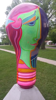Illuminating Lincoln: Lighthouse art project.  Lightbulb titled: The Sparrow's Moonlight Dance located at Lefler Middle School 1100 S 48th street Lincoln, Ne.  Artist:  Wendy Jane Bantam.  Sponsored by: The Donlan Foundation.