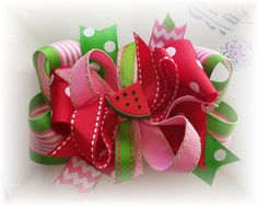 Sweet and Juicy Boutique Watermelon hair bow hairbow red lime white #Handmade