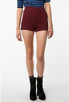 Cooperative High-Rise Jean Short (in burgundy) - Urban Outfitters