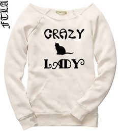 Off the Shoulder Eco Wheat #Eco Fleece Sweatshirt - Crazy Cat Lady by #FTLAApparel