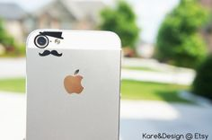 Like a Sir (monocle, hat, mustache) iPhone 5/5c vinyl decal for camera eyes -- Available in BLACK or WHITE on Etsy, $3.99