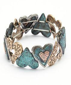 Look at this #zulilyfind! Gold  Turquoise Heart Stretch Bracelet by Mica #zulilyfinds