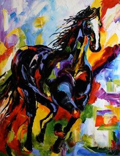 Black Paint' Colorful Art Horse Equine Oil Palette Knife Daily ...