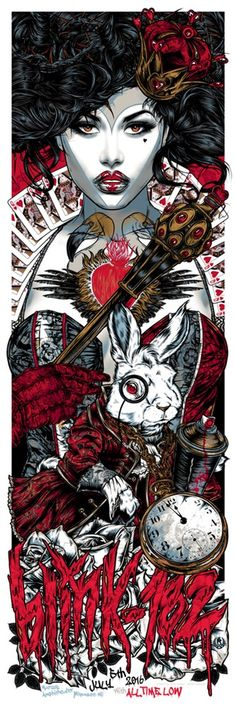 Studio Seppuku - The Art of Rhys Cooper — BLINK-182 gigposter - QUEEN OF HEARTS