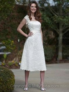 A-line Strapless Lace Bow White Tea-length Wedding Dress at Millybridal.com  $190cad