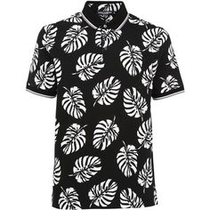 Palm Tree Print Polo Shirt (€265) ❤ liked on Polyvore featuring men's fashion, men's clothing, men's shirts, men's polos, black, mens cotton shirts, men's cotton polo shirts, dolce gabbana mens shirts, mens short sleeve polo shirts and mens straight hem shirts
