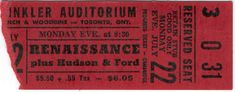 RENAISSANCE Concert Toronto Vintage Ticket Stub 1974 With Hudson Ford VG Shape From The Mighty Finwah Collection Safely Stored For Over 44 Years This Will be a great Gift for Yourself Or any Fan Shipping will be within 2 days of your paymen. Ticket Stubs, Concerts, Renaissance, Toronto, Great Gifts, Ford, Shapes, Vintage, Vintage Comics